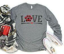 Love Dogs Buffalo Plaid Paw Dog Mom Cozy T-Shirts Sweatshirts S-3XL NEW
