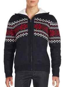Buffalo David Bitton Sweater Sherpa Lined Zip Front Hoodie Mens