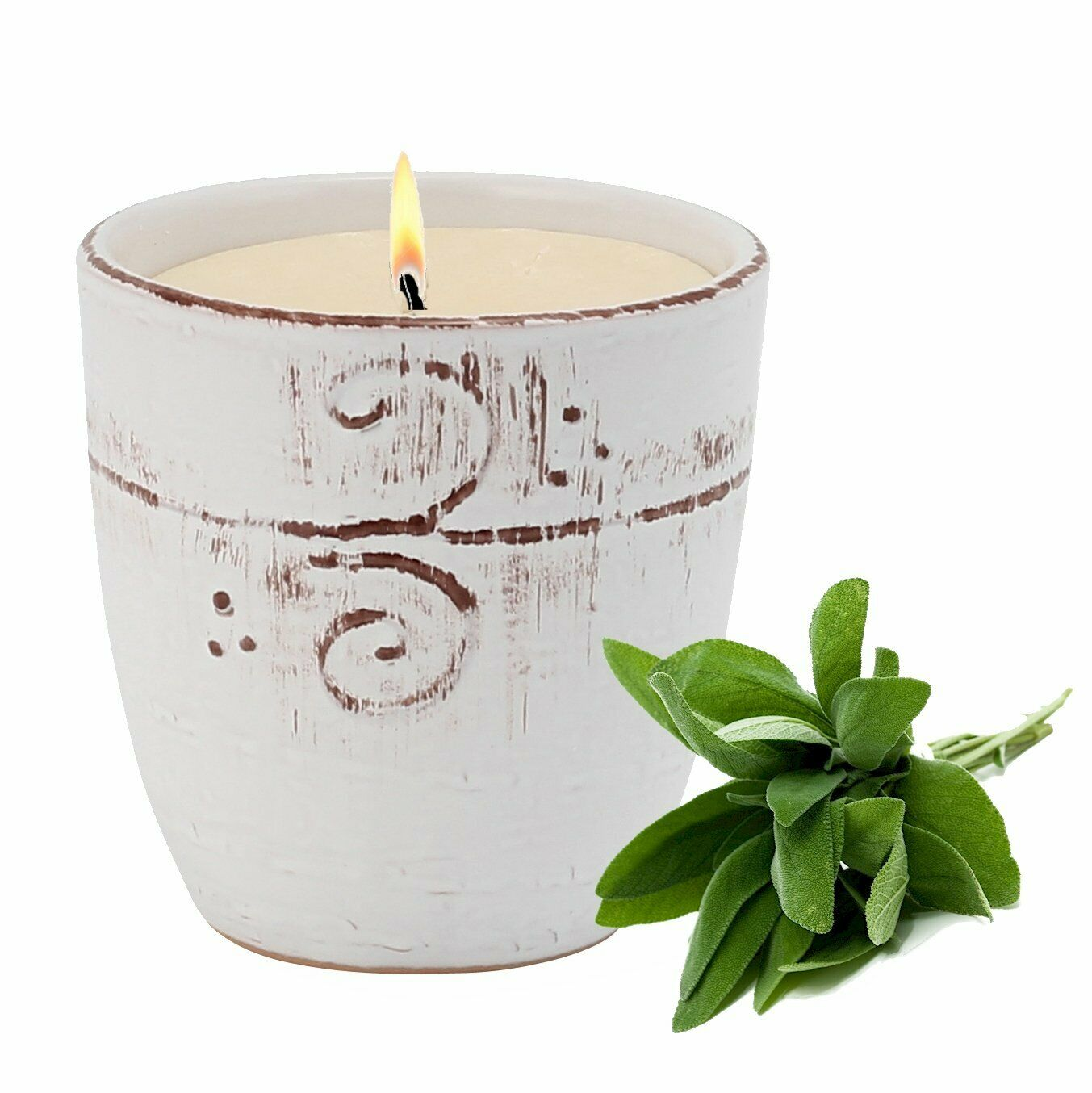 MONDIAL CANDLES  Salvia SAGE Scented Candle -  Large Ceramic Candle with bass re