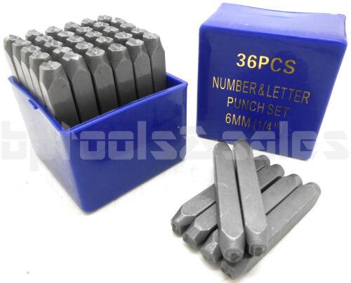 "METAL WOOD LEATHER 1//4/"" 36pc LETTER /& NUMBER STAMP PUNCH SET 6mm HARDENED STEEL"