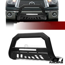 S/&T Racing Matte Black AVT Aluminum LED Bull Bar Guard Stainless Skid 2007-2018 for Toyota Tundra//Sequoia