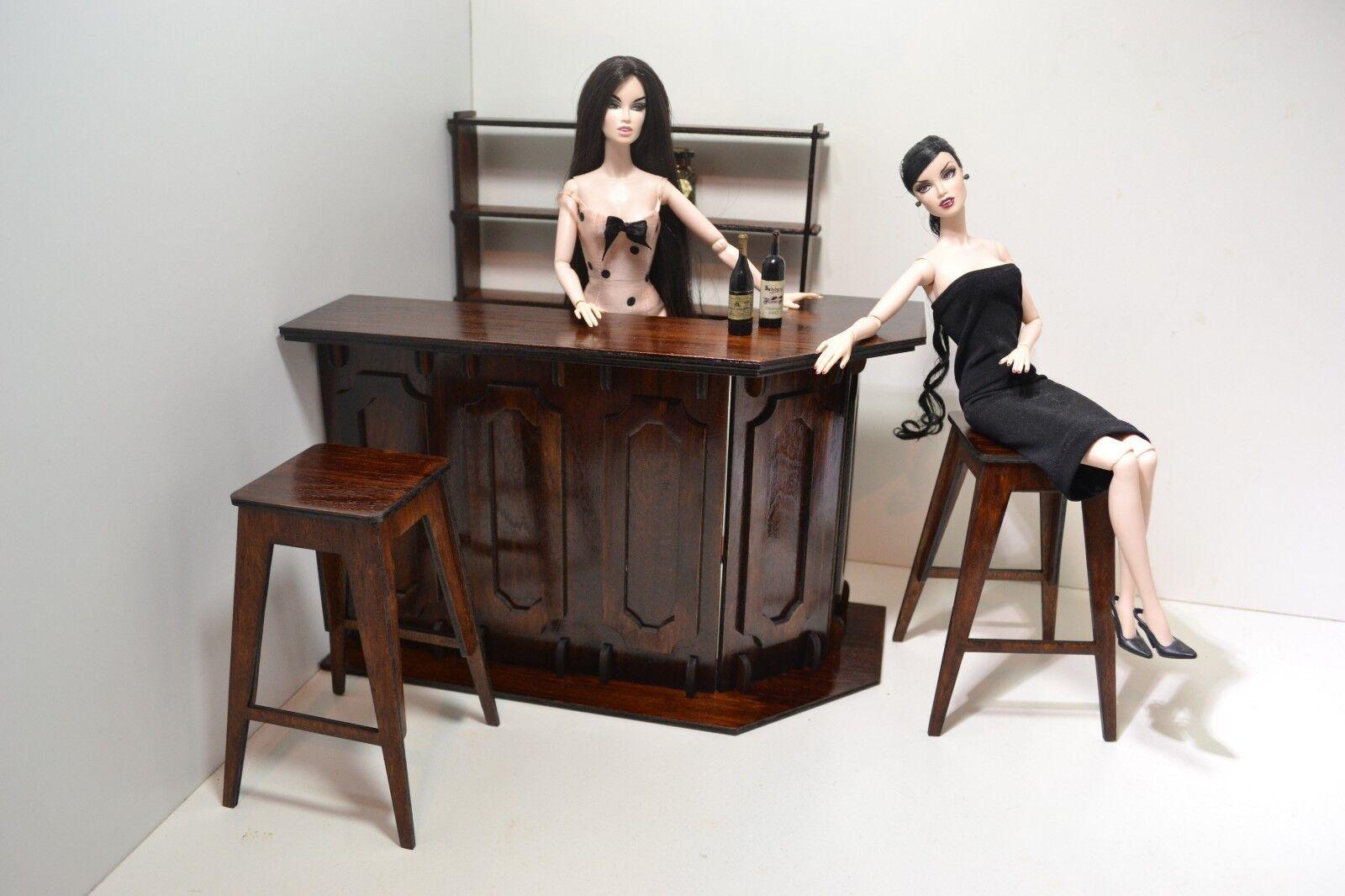 Nuevo Conjunto de muebles para muñecas Bar 12  1 6 FR Barbie De Madera Pub Restaurante Raro 01
