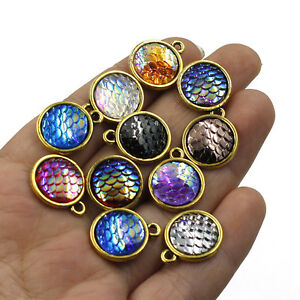 Mermaid-Fish-Scale-Pendant-10PCS-Resin-Metal-Charms-Jewelry-Necklace-DIY-12mm-C