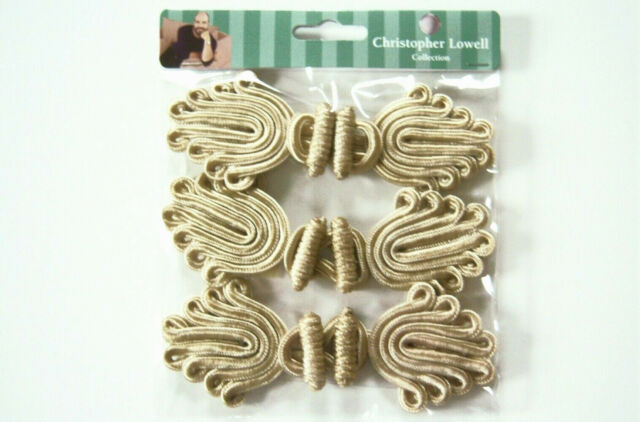 3 LARGE FROG CLOSURES BEIGE WRIGHTS BY CHRISTOPHER LOWELL ...