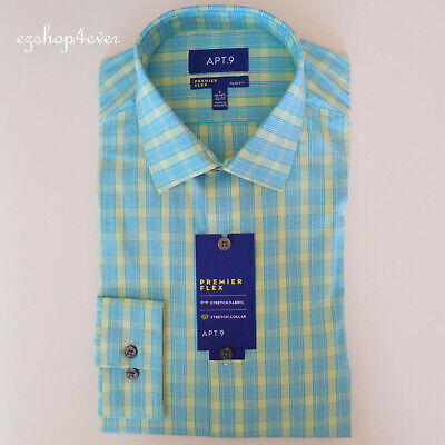 APT.9 Men/'s Premier Flex Stretch Fabric and Collar Slim Fit Dress Shirt White