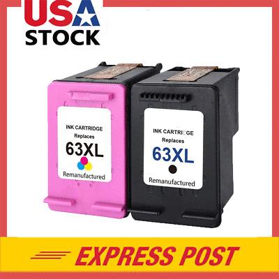 2 PK Black & Color Ink Cartridge for HP 63XL Deskjet 2130 ...