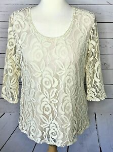 Casual-Express-large-top-ivory-white-lace-3-4-sleeve-dressy-romantic-floral