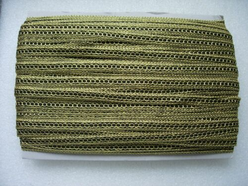 """GB73 1//2/"""" Gold Black Braided Gimp Trimming Lace Edge Dress//Upholstery10yds"""