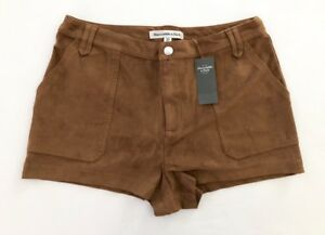 44 Nuevo Con Etiquetas Abercrombie Fitch Para Mujer Imitacion Gamuza Marron Mini Pantalones Cortos 10 Ebay