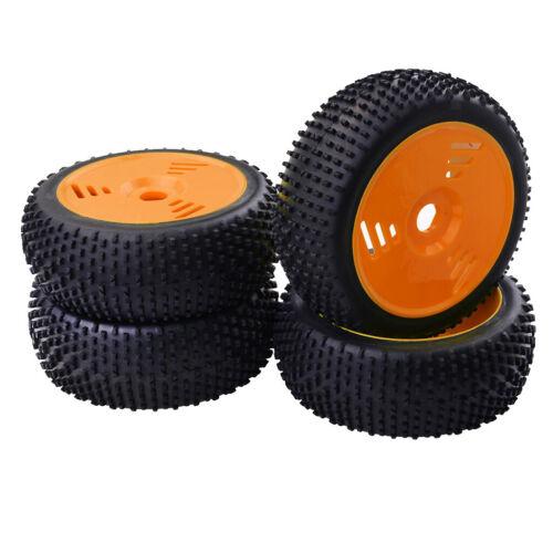 8 RC Buggy Truggy Gelb /& Orange 17mm Nabenfelge /& Gummireifen Reifen für 1