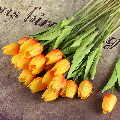 6PCS Tulip Flower Latex Real Touch For Bridal Wedding Bouquet Home Decor 12Color