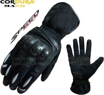 MENS SUMMER AIR VENT MOTORBIKE MOTORCYCLE MOTOCROSS MESH TEXTILE LEATHER GLOVES S