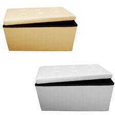 Russo Tessuti Pouf Puff Contenitore Pieghevole Box Seduta Salvaspazio 4 Punti Ecopelle Beige