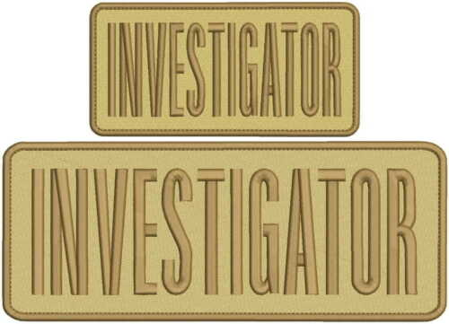 investigator embroidery patch 4x10 and 3x6 inches tan