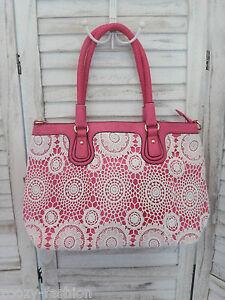 633dfe2dbe47c XXL Shopper Tasche JN Gianni ITALY Pink weiße Häkel- SPITZE Kunst ...