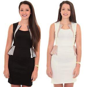 Ladies Sleeveless Half Side Peplum Crinkle Metallic Insert Bodycon Mini Dress