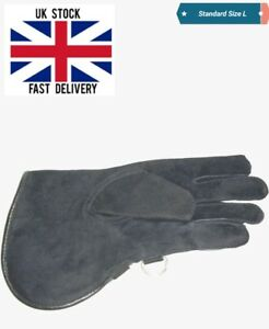 Falconry-Glove-Single-Layer-Charcoal-Black-Suede-Leather-12-034-Standard-Size