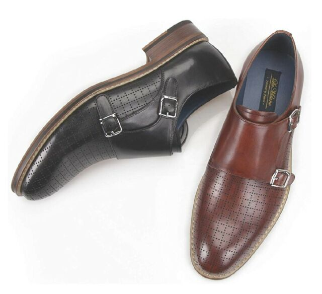 Men/'s Pre-Owned Black Double Monk Strap Cap Toe Slip On Loafers Dress Shoes