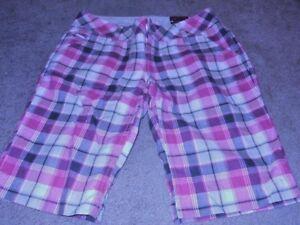 NEW so Junior Girls sz 1 Plaid Bermuda Walking Shorts pink nwt