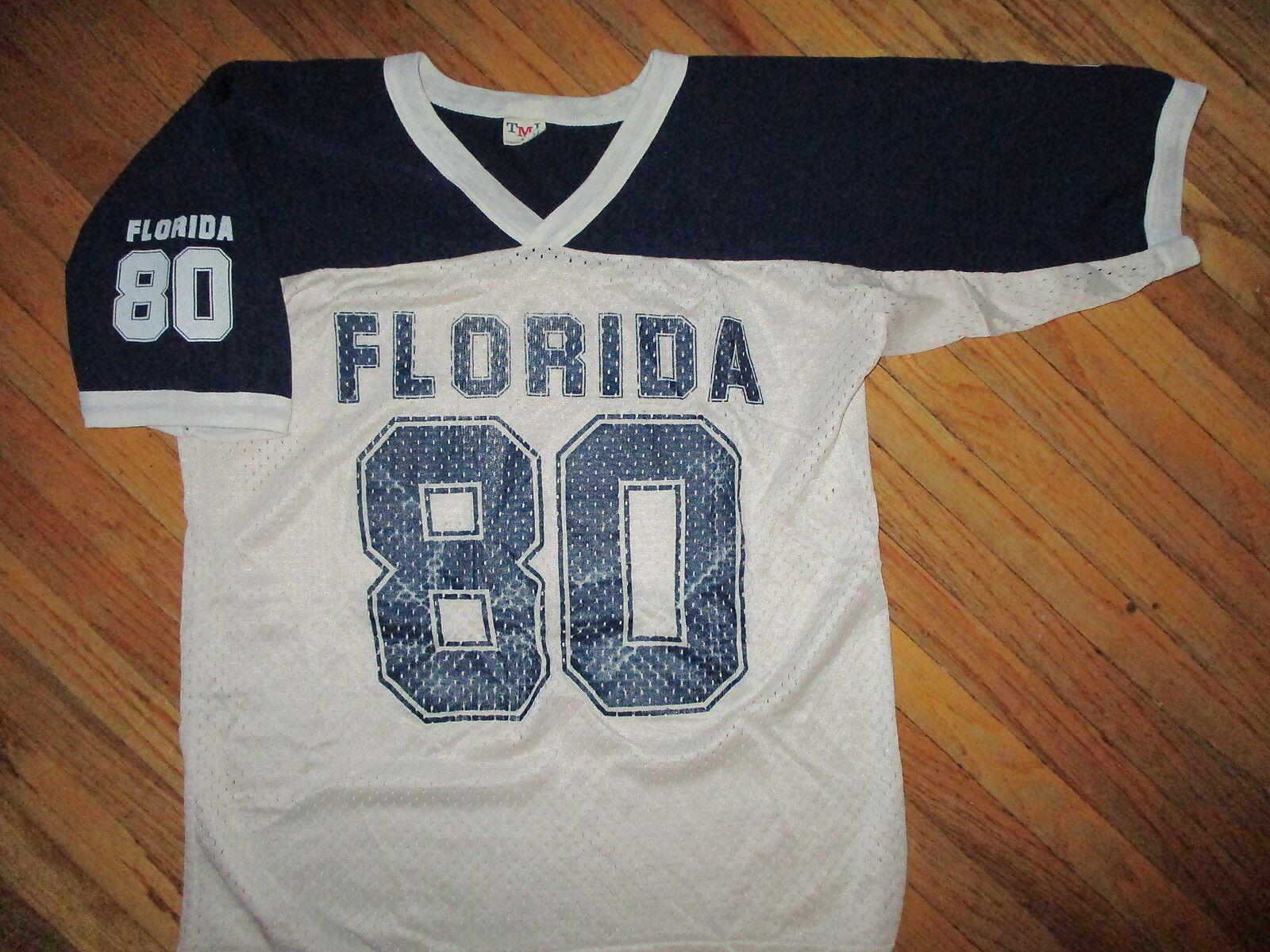 True vintage 1980 year florida 80 pullover blue white football mesh tmi-show original title