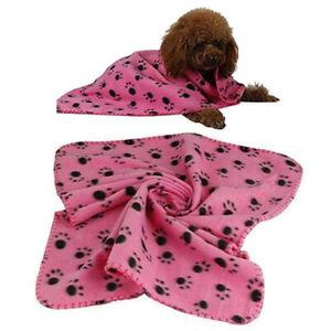 PINK-SOFT-COZY-WARM-FLEECE-PAW-PRINT-PET-BLANKET-DOG-PUPPY-ANIMAL-CAT-BED