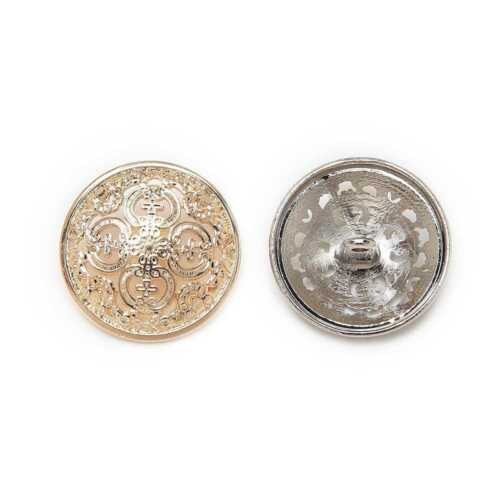 5pcs Round Metal Buttons Hollow Carved Sewing for Jacket Blazer Suits Sweaters