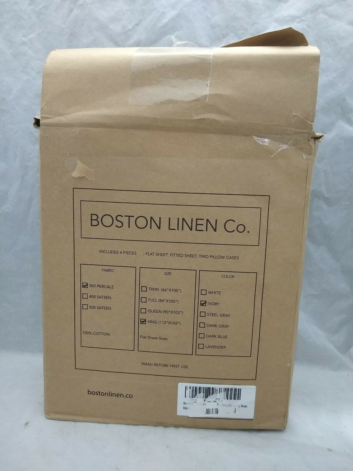 Boston Linen Co. 300 Thread Count Percale 100% Cotton Sheet Set IVORY