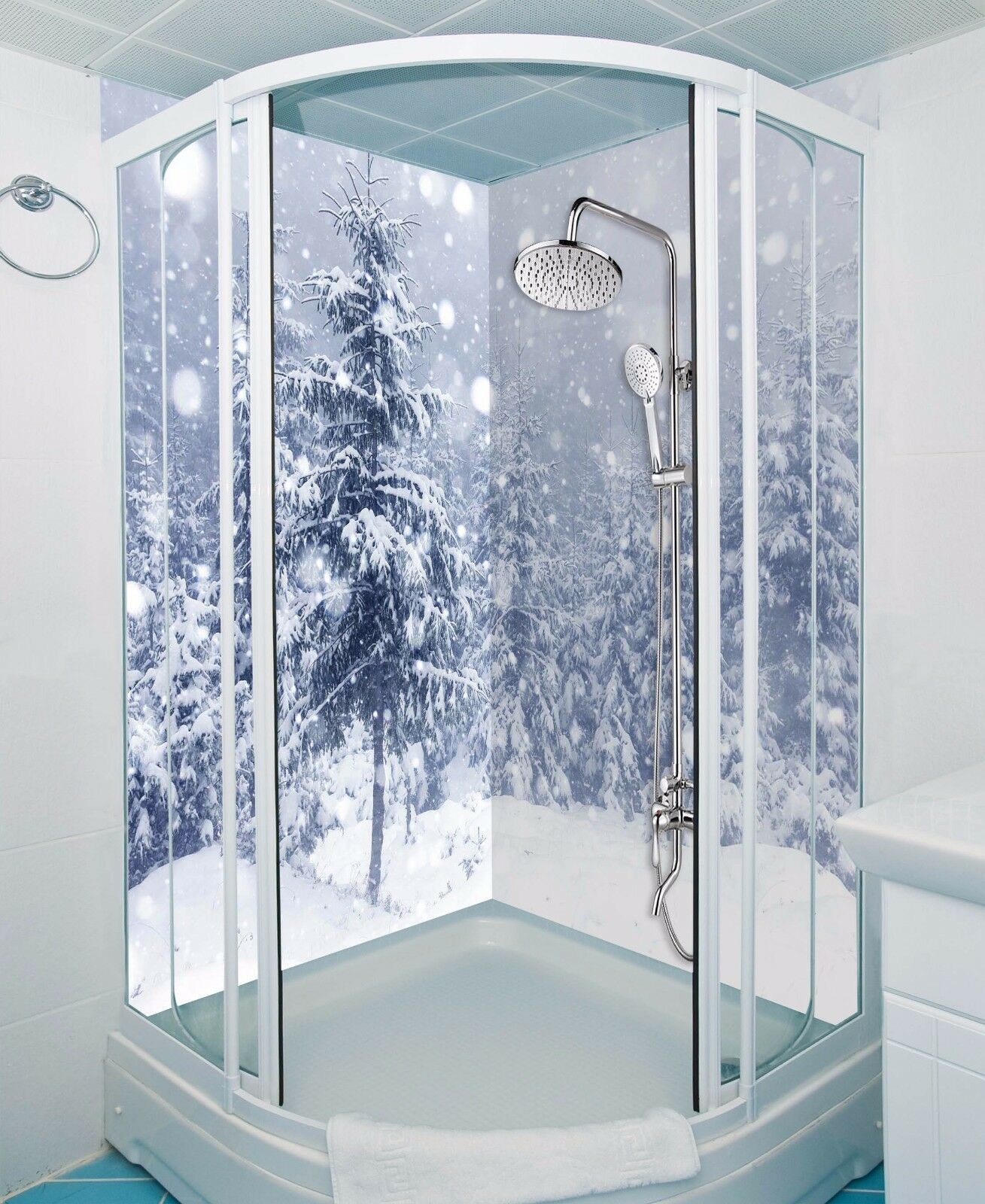 3D Pine Snowing Weiß WallPaper Bathroom Print Decal Wall Deco AJ WALLPAPER UK