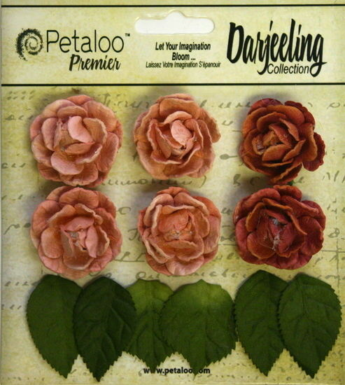 SPICE Flowers 6 Paper GARDEN ROSETTE 35mm /& 6 Leaves 25x30mm Darjeeling Petaloo