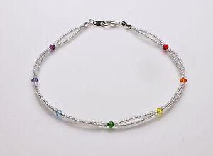Chakra Coloured Swarovski Crystal Elements and Clear Double Seedbead Bracelet