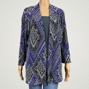 Chico-039-s-Travelers-Accordion-Pleated-Printed-Open-Jacket-2-LARGE-12-14-Black-Blue