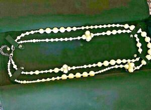 PRE-OWNED CHANEL LONG-GOLD-TONE DOUBLE STRAND FAUX PEARL NECKLACE