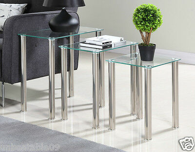 Nest Of 3 Tables Black Clear Glass Side End Square Modern