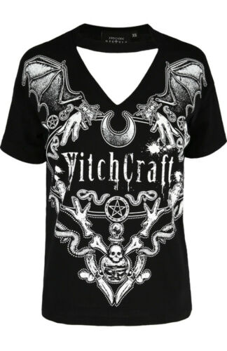 Restyle Witchcraft Wicca Occult Witch Cat Crescent Luna Choker Top T-shirt Tee