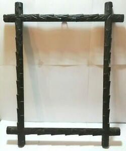 BEAUTIFUL-ANTIQUE-BLACK-FOREST-PICTURE-FRAME-HAND-CARVED-WOOD-AUSTRIA-c1900-1