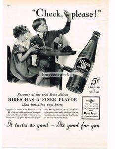 1937 HIRES ROOT BEER Little Girl Boy Asking For Check Vintage Ad