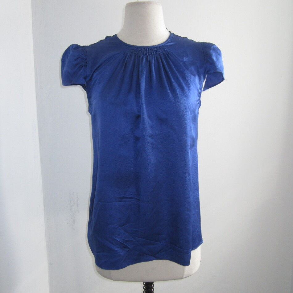 PROENZA SCHOULER royal Blau silk short sleeve top Größe Small NICE
