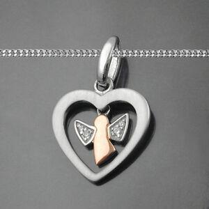 Kinder Schutz Engel Anhänger mit Zirkonia Echt Silber 925 Rosè Gold mit Kette