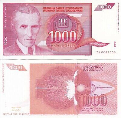 Nikola Tesla red banknote 1000 dinara UNC Yugoslavia 1992