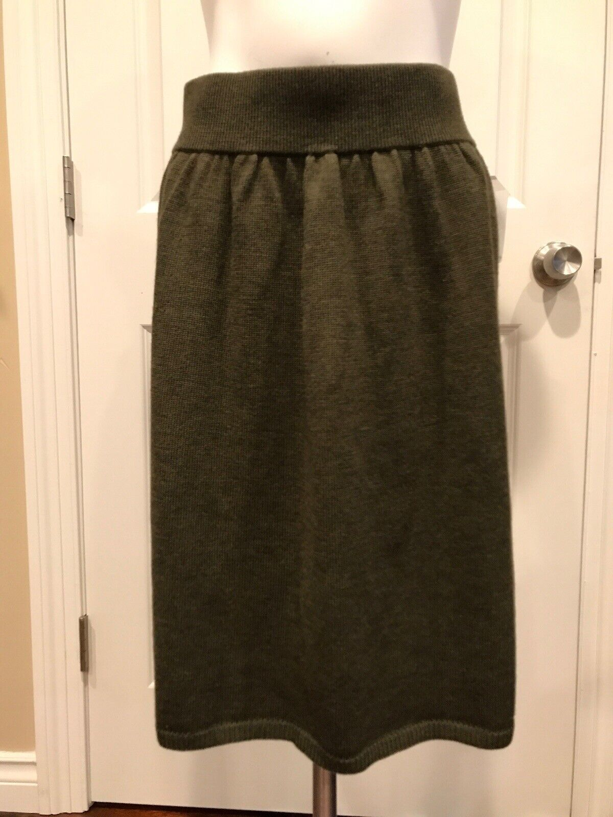 Eileen Fisher Green Knit A-Line Skirt, Size Medium, NWT   198