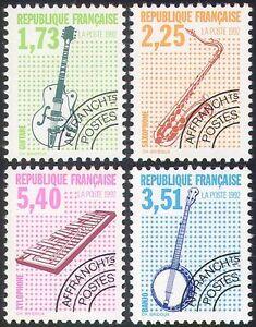 France-1992-Musical-Instruments-Music-Guitar-Banjo-Pre-cancels-4v-set-n33943