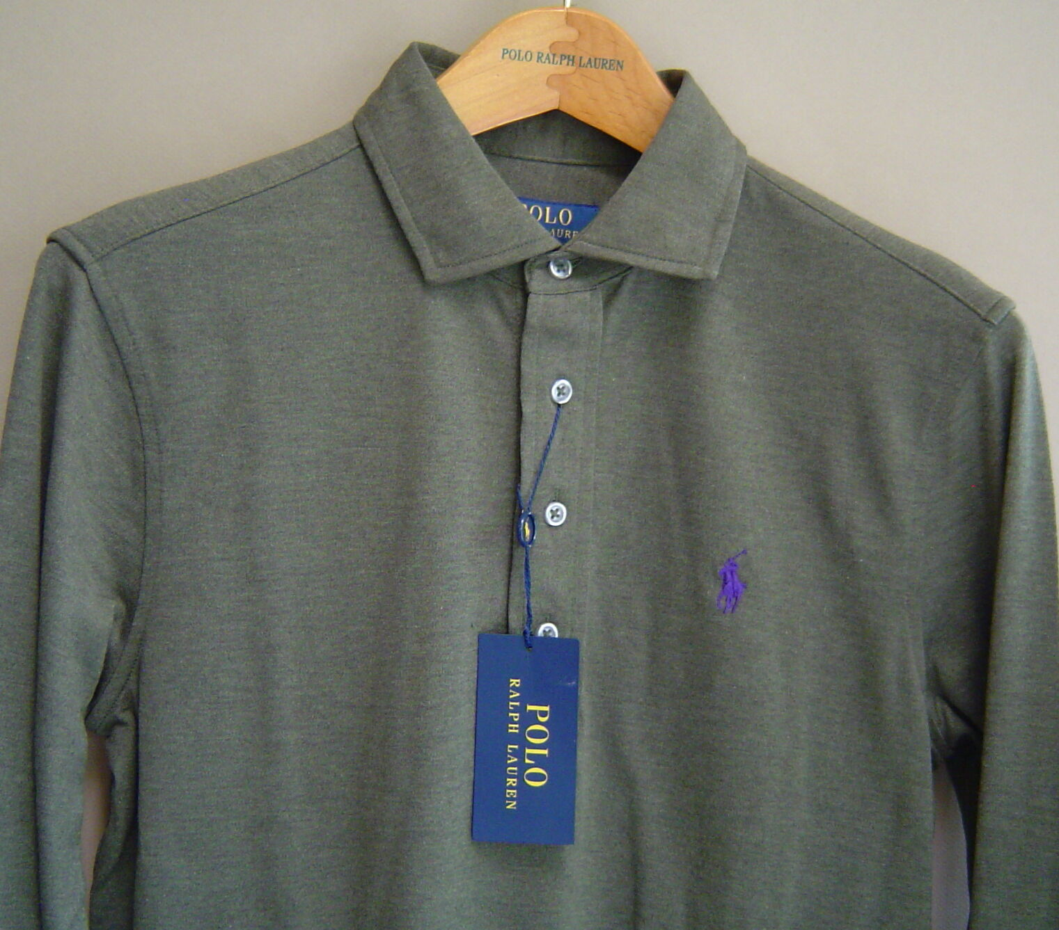 NWT  POLO RALPH LAUREN Mens S JACQUARD POPOVER Alpine Heather Green L S Shirt