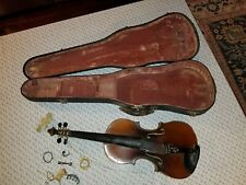 Vtg E. Martin Sachsen Violin copy of amati Tiger stripes w/case NEEDS REPAIR