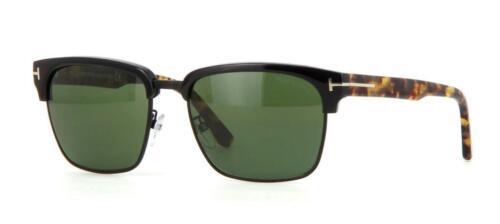 Tom Ford River TF 367 02B Noir Mat Havane Vert Lunettes de soleil Sonnenbrille 57 mm