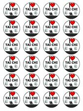 "x24 1.5"" I Love Tai Chi Chinese Martial Art Cupcake Topper On Edible Rice Paper"