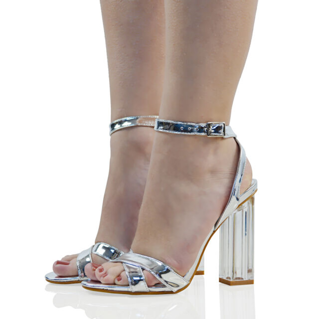 Womens High Clear Heel Ankle Strappy Sandals Ladies Buckle Prom ...