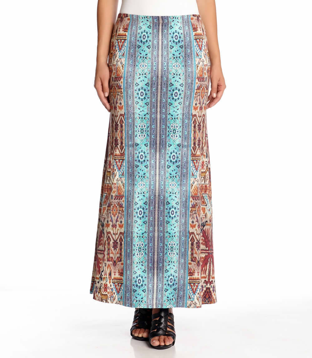 Karen Kane 1L41535 bluee-Multi Stetch Jersey Baja Maxi Skirt - MSRP