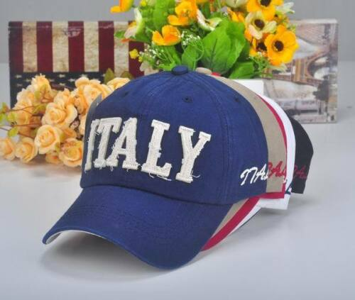 M184 White NEW Cotton Baseball Cap Buckle-back Hip-Hop Sun Hat Letters ITALY