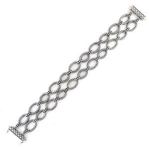 Precious Metal Without Stones Strict Andrea Candela Sterling Silver Diamond Cut Oval Halo Wide Bracelet Acb269-sl