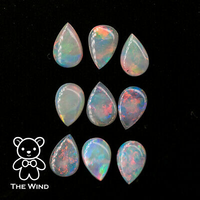 Pear Shaped Colorful Australian Solid Opals 6x4mm Loose Gemstone Sold By Pieces